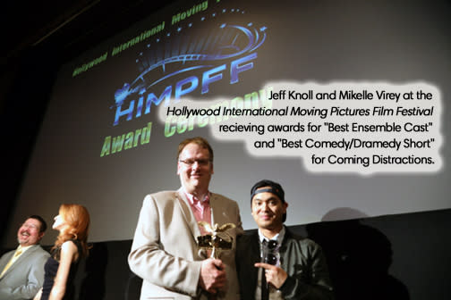 Jeff Knoll and Mikelle Virey at the Hollywood International Moving Pictures Film Festival receiving awards for Coming Distractions