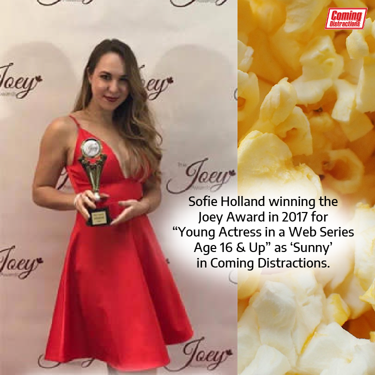 Sofie Holland winning the Joey Award